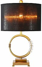 Table Lamp Bronze Metal Ring With Crystal Simple