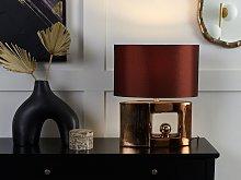 Table Lamp Brown Ceramic Base Fabric Drum Shade
