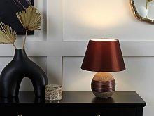 Table Lamp Brown Ceramic Base Faux Silk Cone Shade