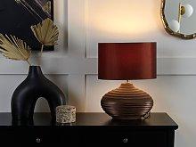 Table Lamp Brown Ceramic Base Faux Silk Drum Shade