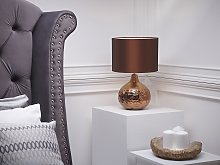 Table Lamp Brown Porcelain Faux Silk Drum Shade