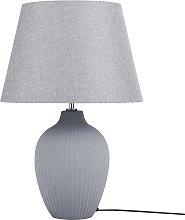 Table Lamp Ceramic Base Polycotton Shade Grey