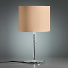 Table lamp, coloured linen lampshade, natural
