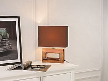 Table Lamp Copper Porcelain Base Brown Faux Silk