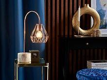 Table Lamp Desk Light Copper Metal Diamond Cage