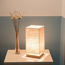 Table Lamp E26 Bedroom Wooden Cloth Bedside Light