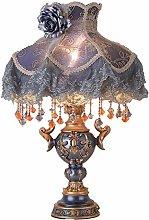 Table Lamp European High-grade Cloth Blue Shade