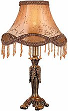 Table Lamp European Retro Brown Color Shade Fabric