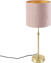 Table lamp Gold/Brass with 25cm Velvet Aged Pink