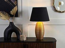 Table Lamp Gold Ceramic Base Black Fabric Cone
