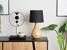 Table Lamp Gold Glass Base Black Drum Shade