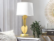 Table Lamp Gold Metal Abstract Base White Empire