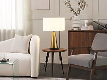 Table Lamp Gold Metal Base Beige Linen Drum Shade