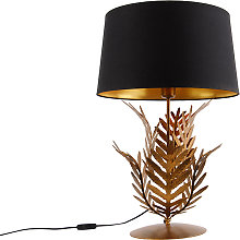 Table lamp gold with black cotton shade 40 cm -