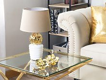 Table Lamp Gold with White and Beige Ceramic