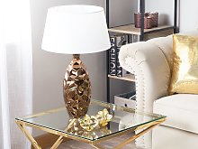 Table Lamp Gold with White Ceramic Glossy Base