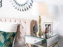 Table Lamp Gold with White Metal Base Polyester