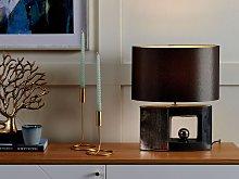 Table Lamp Grey Ceramic Base Fabric Drum Shade