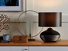 Table Lamp Grey Ceramic Base Faux Silk Drum Shade