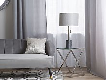 Table Lamp Grey Marble Base Silver Drum Shade