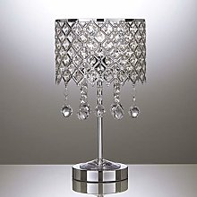 Table Lamp in Silver Chrome with Beaded Droplets