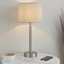 Table Lamp Matt Nickel Plate, Taupe Fabric Shade