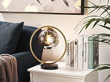 Table Lamp Metal Gold Bedside Light Glass Shade