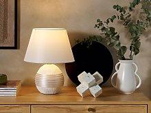 Table Lamp Off-White Ceramic Base Faux Silk Cone