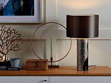 Table Lamp Silver Ceramic Pillar Base Faux Silk