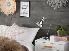 Table Lamp Silver Metal Adjustable Arm Reading