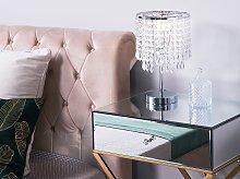 Table Lamp Silver Metal Base Chandelier Crystal