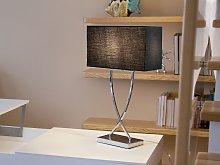 Table Lamp Silver Metal Black Rectangular Shade