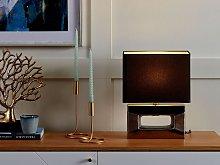 Table Lamp Silver Porcelain Base Grey Faux Silk