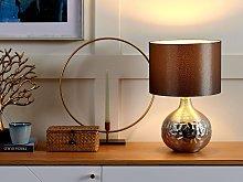 Table Lamp Silver Porcelain Grey Faux Silk Drum