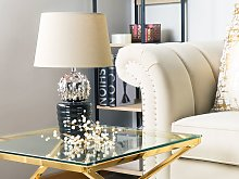 Table Lamp Silver with Black and Beige Ceramic