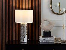 Table Lamp White Ceramic Pillar Base Faux Silk