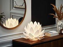 Table Lamp White Plastic 30H cm Decorative Flower