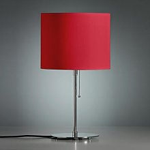 Table lamp with a coloured linen lampshade, red