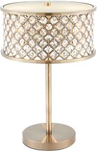 Table Lamp with Antique Brass & Clear Crystal