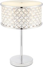 Table Lamp with Chrome Plate & Clear Crystal Glass