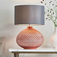 Table Lamp with Rose Gold Base & Grey Faux Silk