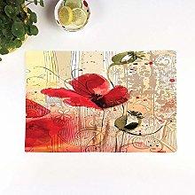 Table Mats,Flower,Red Poppy Flower Beige Floral