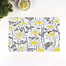 Table Mats,Grey,Daisy Flowers with Bees in Spring
