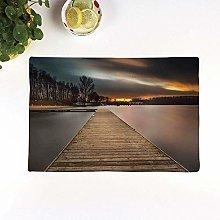 Table Mats,Landscape,Lake Landscape With Jetty