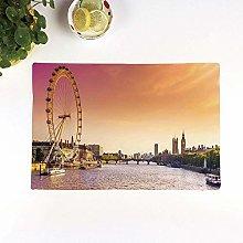 Table Mats,London,Sunset View Bridge on Thames