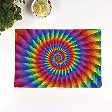 Table Mats,Trippy,Psychedelic Rainbow Spiral in