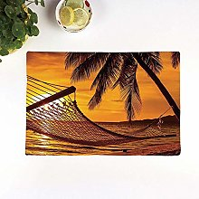 Table Mats,Tropical,Silhouette of Hammock by the