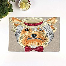 Table Mats,Yorkie,Hipster Yorkie with Cute Straw