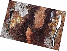 Table Placemats Set of 6 Copper and Silver