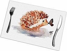 Table Placemats Set of 6 Hedgehog and Butterfly